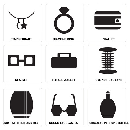 Set Of 9 simple editable icons such as Circular perfume bottle, Round eyeglasses, Skirt with slit and belt, Cylindrical lamp, Female wallet, Glasses, Wallet, Diamond ring, Star pendant.