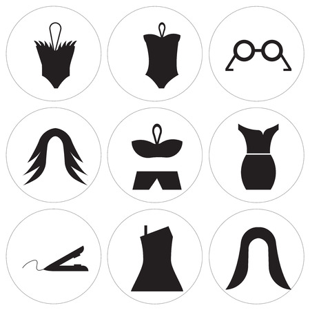 Set Of 9 simple editable icons such as Female black hair, Dress, Hair iron, Dress, Bikini shape, Hair wig, Eyeglasses, Bikini, Female swimsuit, can be used for mobile, web UI Иллюстрация