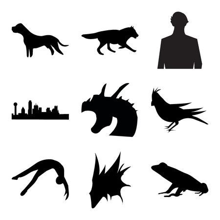Set Of 9 simple editable icons such as black frog, black griffin, black tumbling, black cardinal bird, black griffin, black dallas sky, sherlock, black wolf running, black pit bull, can be used for
