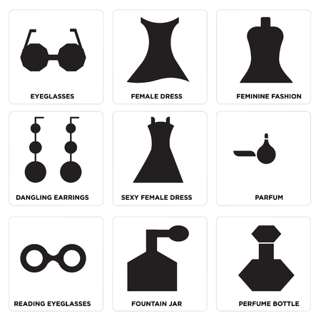 Set Of 9 simple editable icons such as Perfume bottle, Fountain jar, Reading eyeglasses, Parfum, Sexy female dress, Dangling earrings, Feminine fashion, Female dress, Eyeglasses, can be used for