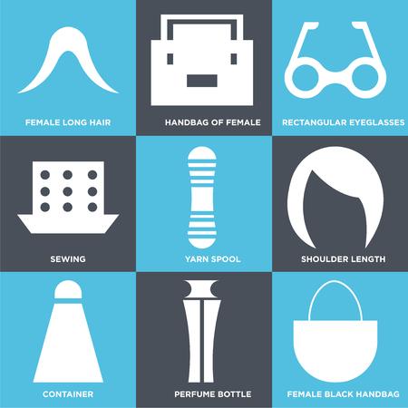 Set Of 9 simple editable icons such as Female black handbag, Perfume bottle, Container, Shoulder length, Yarn spool, Sewing, Rectangular eyeglasses, Handbag of female, Female long hair, can be used Illustration