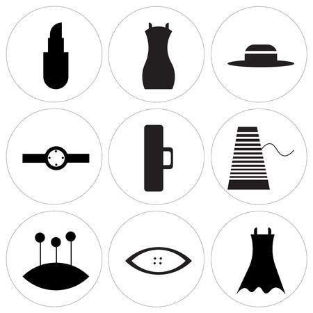 Set Of 9 simple editable icons such as Female black dress, Star clothes button, Pin cushion with several pins, Thread, Clothes button black, Ring with oval shaped de, Sewing thimble, Shoulder bag,