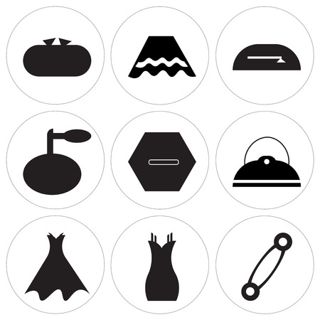 Set Of 9 simple editable icons such as Pin variant, Dress, Strapless dress with belt and petticoat, Pouch bag with buckle, Clothes button, Perfume bottle with sprayer, Open mini purse, Skirt black Illustration
