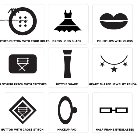 Set Of 9 simple editable icons such as Half frame eyeglasses, Makeup pad, Button with cross stitch, Heart shaped jewelry pendant, Bottle shape, Clothing patch with stitches, Plump lips with gloss,  イラスト・ベクター素材