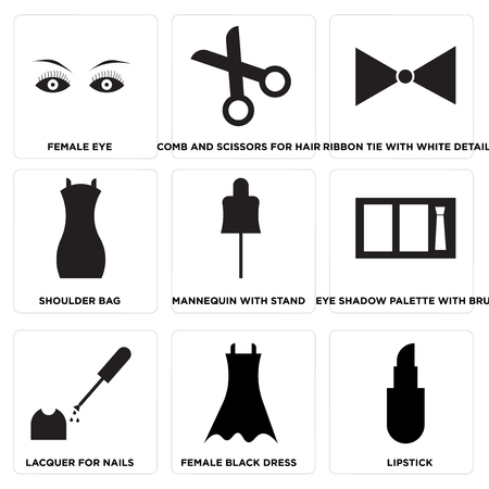 Set of 9 simple editable icons such as lipstick, female black dress, lacquer for nails, eye shadow palette with brush, mannequin with stand, shoulder bag, ribbon tie with white details.
