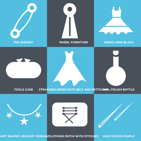 Set Of 9 simple editable icons such as Hair sticks couple, Clothing patch with stitches, Heart shaped jewelry pendant, Nail polish bottle, Strapless dress with belt and petticoat, Tools case, Dress Illustration