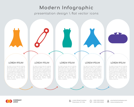Infographics design vector and female black dress, pin variant, shoulder bag, strapless dress with belt and petticoat, tools case icons can be used for workflow layout, diagram, annual report, web.