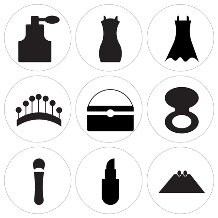Set Of 9 simple editable icons such as Rectangular pouch, Lipstick, Bottle black, Blush makeup circular opened case, Purse with white details, Pins circle, Female black dress, Shoulder bag, Stylish