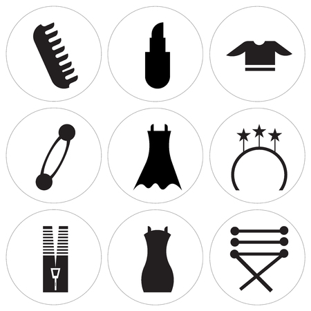 Set Of 9 simple editable icons such as Cord of a shoe, Shoulder bag, Zipper tool, Ring side view, Female black dress, Security pin shape, T shirt, Lipstick, Clip of big size for hair, can be used for