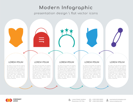 Infographics design vector and Tube swimwear, Big handle, Ring side view, Swimsuit, Security pin shape icons. Illustration