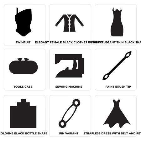 Set Of 9 simple editable icons such as Strapless dress with belt and petticoat, Pin variant, Cologne black bottle shape, Paint brush tip, Sewing machine, Tools case, Dress elegant thin black shape,