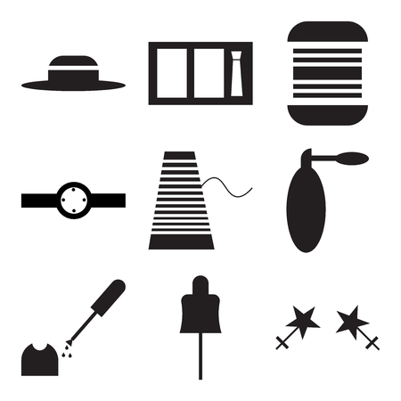 Set Of 9 simple editable icons such as Mannequin with stand, Lacquer for nails, in silhouette illustration.