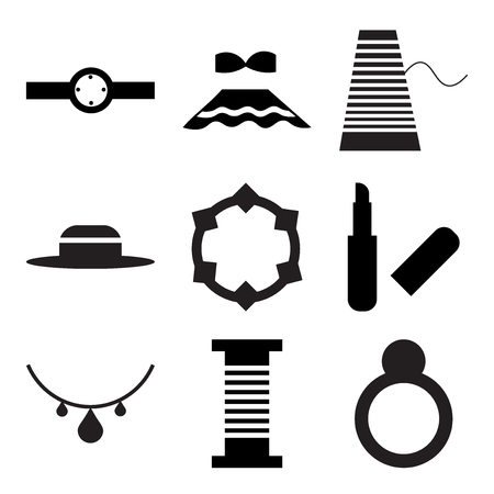 Set Of 9 simple editable icons such as Engagement ring, Thread spool, in silhouette illustration.