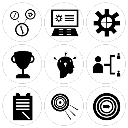Set Of 9 simple editable icons such as Target, Notepad in silhouette illustration.