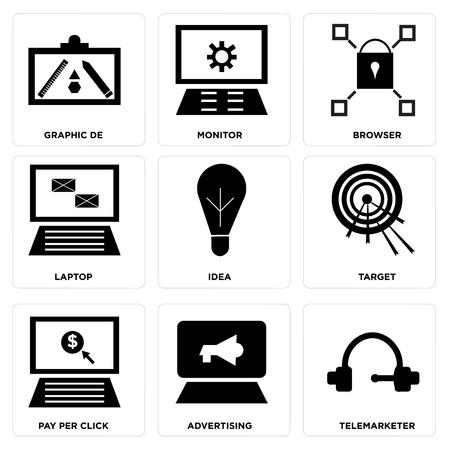 Set Of 9 simple editable icons such as Telemarketer, Advertising, in silhouette illustration.