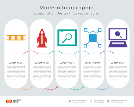 Infographics design vector and Link, Startup, Browser, Browser, Pay per click icons can be used for workflow layout, diagram, annual report, web design. Business concept with 5 options, steps or
