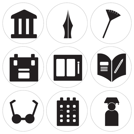 Set Of 9 simple editable icons such as Graduate, Calendar, Bell, Homework, Watercolor, Briefcase, Pom pom, Pen, History, can be used for mobile, web UI