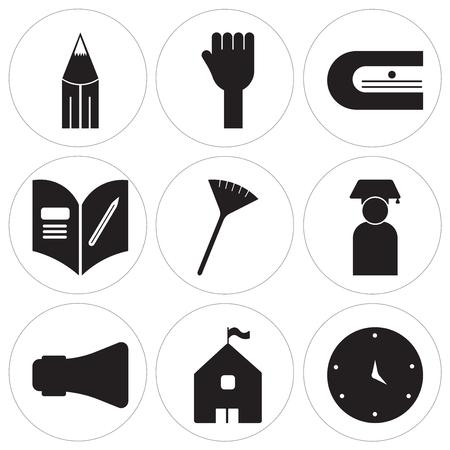Set Of 9 simple editable icons such as Blackboard eraser, High school, Loudspeaker, Graduate, Pom pom, Homework, Sharpener, Hands, Literature, can be used for mobile, web UI