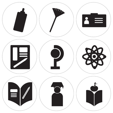 Set Of 9 simple editable icons such as Scarf, Graduate, Homework, Atom, Earth globe, Schedule, Coffee, Pom pom, Marker, can be used for mobile, web UI Ilustração