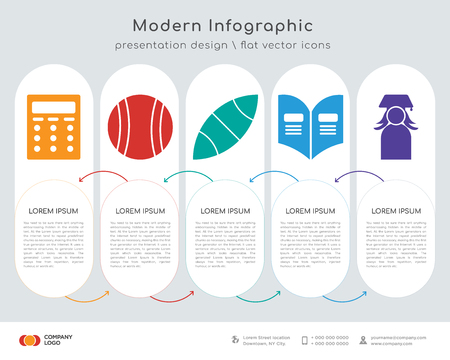 Infographics design vector and Writing, Football, American football, Yearbook, Graduate icons can be used for workflow layout, diagram, annual report, web design. Business concept with 5 options,