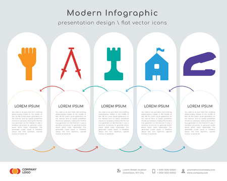 Infographics design vector and Hands, Compass, Chess, High school, Stapler icons can be used for workflow layout, diagram, annual report, web design.