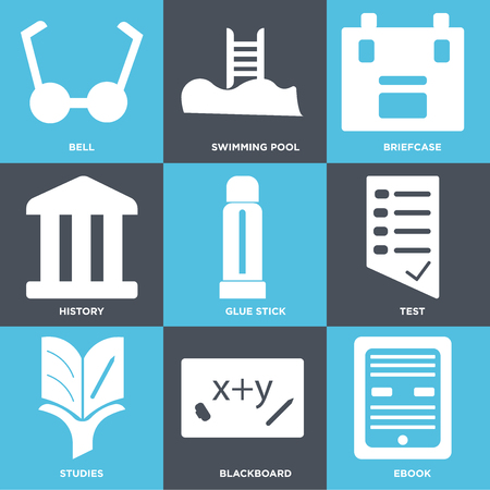 Set Of 9simple editable icons such as Ebook, Blackboard, Studies, Test, Glue stick, History, Briefcase, Swimming pool, Bell, can be used for mobile, web UI Illustration