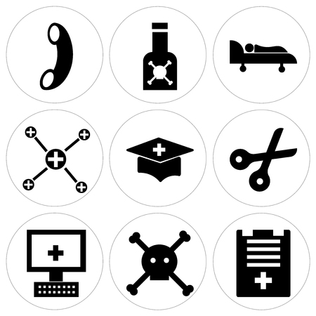 Set Of 9 simple editable icons such as todo list, dead, computer, scissors, medical education, biochemistry, hospital bed, pills, call, can be used for mobile, web UI Illustration