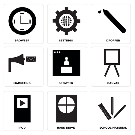 Set Of 9 simple editable icons such as School material, Hard drive, Ipod, Canvas, Browser, Marketing, Dropper, Settings, Browser, can be used for mobile, web UI 向量圖像