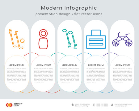 Infographics design vector and hockey, fitness, hockey, toaster, bike icons can be used for workflow layout, diagram, annual report, web design. Business concept with 5 options, steps or