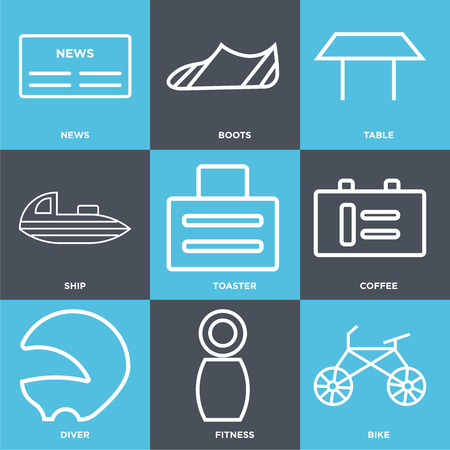 Set Of 9 simple editable icons such as bike, fitness, diver, coffee, toaster, ship, table, boots, news, can be used for mobile, web UI Stock Illustratie