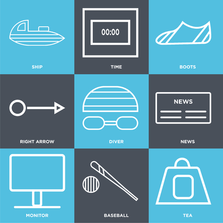 Set Of 9 simple editable icons such as tea, baseball, monitor, news, diver, right arrow, boots, time, ship, can be used for mobile, web UI