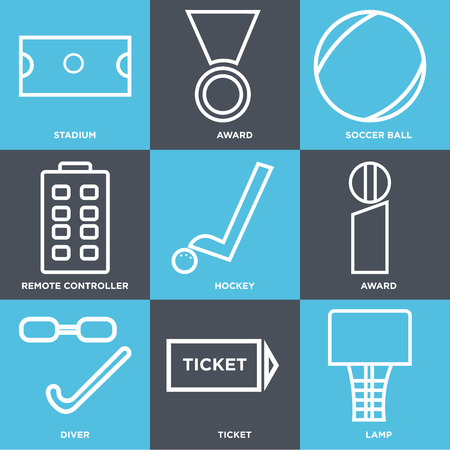 Set Of 9 simple editable icons such as lamp, ticket, diver, award, hockey, remote controller, soccer ball, award, stadium. Can be used for mobile, web UI.