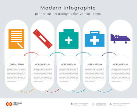 Info-graphics design vector and to do list, plaster, pills, medical, hospital bed icons. Can be used for workflow layout, diagram, annual report, web design.