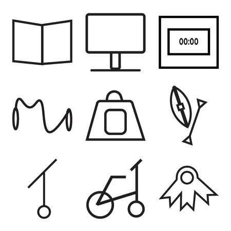 Set Of 9 simple editable icons such as winner award, bike, sport, american football, tea, sport, time, monitor, book, can be used for mobile, web UI