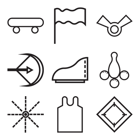 Set Of 9 simple editable icons such as carpet, bottom shirt, arrow, bowling ball, shoes, arrow, winner, flag, shoes wheels, can be used for mobile, web UI