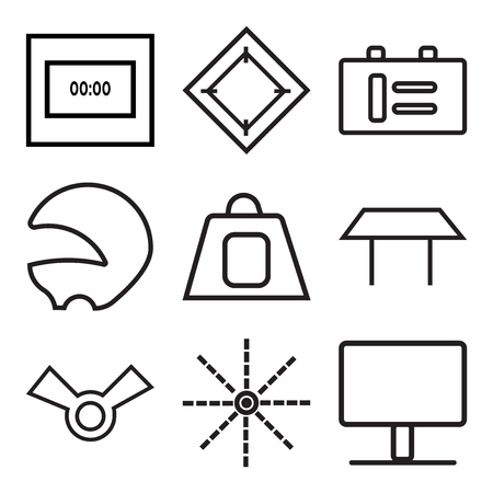 Set Of 9 simple editable icons such as monitor, arrow, winner, table, tea, diver, coffee, carpet, time, can be used for mobile, web UI