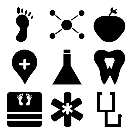 Set Of 9 simple editable icons such as stethoscope, medical, medical, dentist, chemistry, location pin, apple, chemical compounding, foot, can be used for mobile, web UI