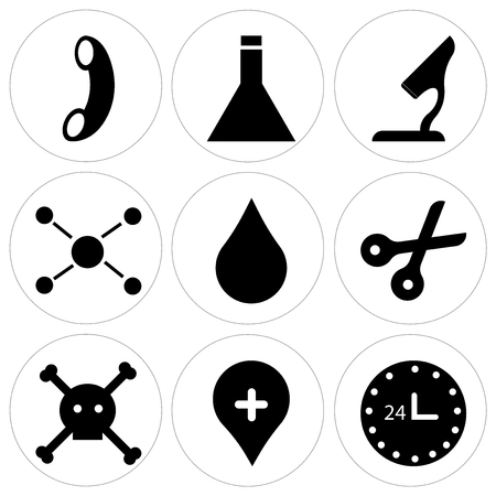 Set Of 9 simple editable icons such as 24 hr, location pin, dead, scissors, water drop, chemical compounding, microscope, chemistry, call, can be used for mobile, web UI