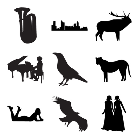 Set Of 9 simple editable icons such as black bridesmaid, vulture, black woman lying down, black lioness, raven, piano player, black elk, black atlanta, tuba, can be used for mobile, web UI Vettoriali