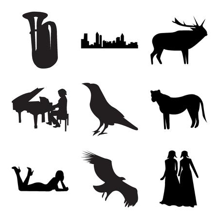 Set van 9 eenvoudige bewerkbare pictogrammen zoals zwarte bruidsmeisje, gier, zwarte vrouw liggend, zwarte leeuwin, raaf, pianist, zwarte eland, zwarte atlanta, tuba, kan worden gebruikt voor mobiel, web UI