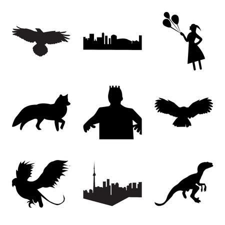 Set Of simple editable icons such as black velociraptor, toronto sky, black griffin, black owl, black frankenstein, black fox, black girl holding balloons, black new orleans, raven, can be used for