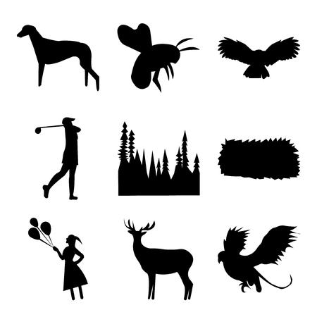 Set Of 9 simple editable icons such as black griffin, black bull elk, black girl holding balloons, black hay bale, black tree, black female golfer, black owl, black bumble bee, black greyhound, can Иллюстрация