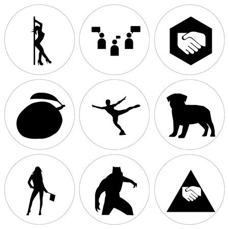 Set Of 9 simple editable icons such as join us, black panther, flag girl, pug, figure skater, mango, folded hands, discussion board, stripper, can be used for mobile, web UI
