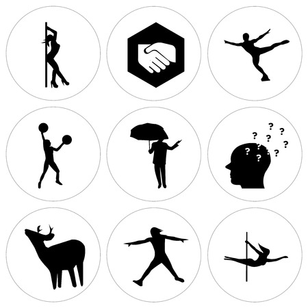Set Of 9 simple editable icons such as stripper, ninja warrior, whitetail buck, inquiry, ninja warrior, figure skater, folded hands, stripper. Can be used for mobile, web UI. Stock Vector - 100257744