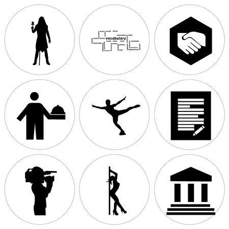 Set Of 9 simple editable icons such as bank branch, stripper, cameraman, specification, figure skater, hospitality, folded hands, vocabulary, pharaoh, can be used for mobile, web UI