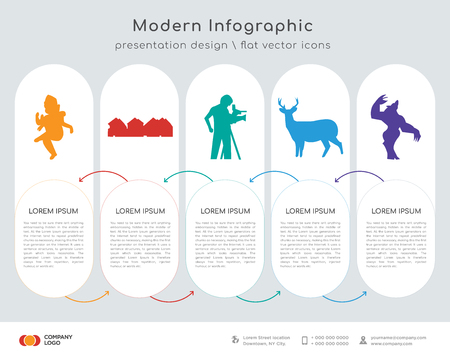 Infographics design vector and ganish, row of houses, cameraman, whitetail buck, werewolf icons can be used for workflow layout, diagram, annual report, web design. Business concept with 5 options, Illustration