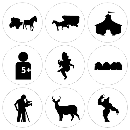 Set Of 9 simple editable icons such as werewolf, whitetail buck, cameraman, row of houses, ganish, number of players, circus tent, horse and carriage, horse and carriage, can be used for mobile, web Illustration