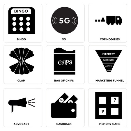 Set Of 9 simple editable icons such as memory game, cashback, advocacy, marketing funnel, bag of chips, clam, commodities, 5g, bingo, can be used for mobile, web UI