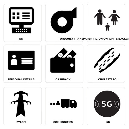 Set Of 9 simple editable icons such as 5g, commodities, pylon, cholesterol, cashback, personal details, family transparent icion on white background, in black,, turbo, on, can be used for mobile, web Illustration