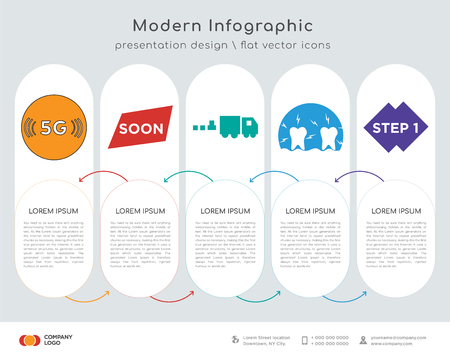 Infographics design vector and 5g, soon, commodities, inflammation, step 1 icons can be used for workflow layout, diagram, annual report, web design. Business concept with 5 options, steps or